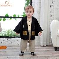 Baby Rompers Sets Kids Japanese Kimono Style Baby Girls Boys Tollder Infant Cotton Kimono Boys Jumpsuit