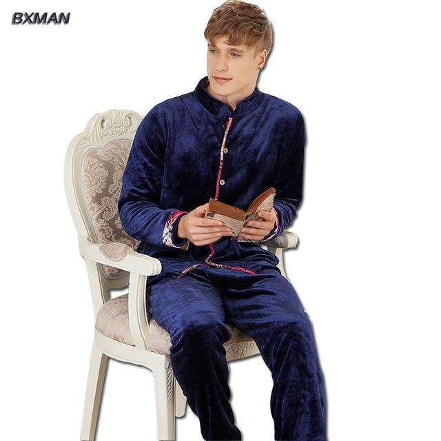 BXMAN Brand Men's Winter Pijamas Hombre Casual Pajamas Thicken Polyester Solid Turn-down Collar Full Sleeve Men Pajamas Sets  50