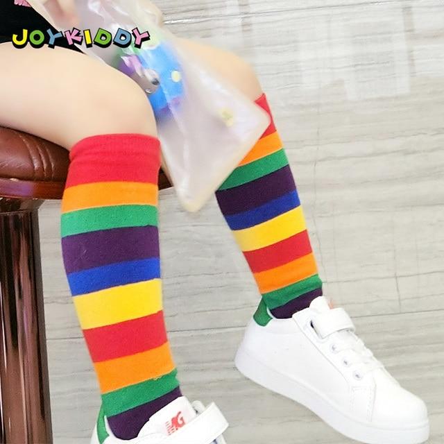 6b61489f8 2018 New Arrival Children Rainbow Socks Kids Sport Girls Boys Colorful  Striped Soft Cotton Knee High Socks Toddler High Quality