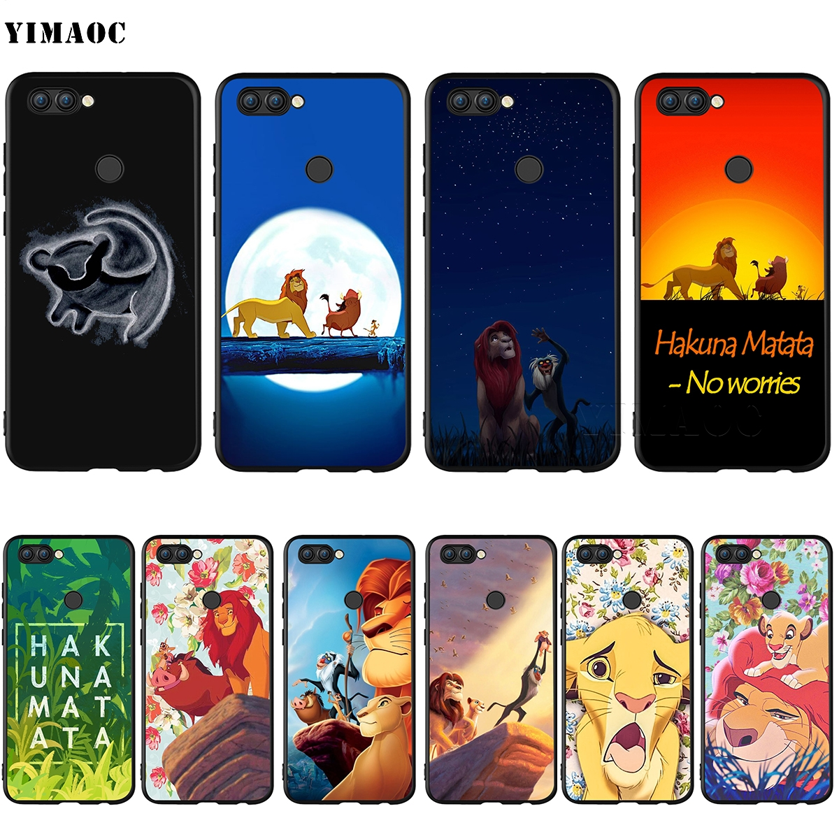YIMAOC <font><b>Hakuna</b></font> <font><b>Matata</b></font> <font><b>Lion</b></font> <font><b>King</b></font> Case for Huawei Mate 10 P8 P9 P10 P20 P30 P Smart Lite Pro Mini 2017 image