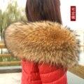 Natural real gola de pele de guaxinim lenço da pele das mulheres superiores de luxo 18 cm de largura e 80 cm de comprimento cachecol de lã gola de pele guarnição