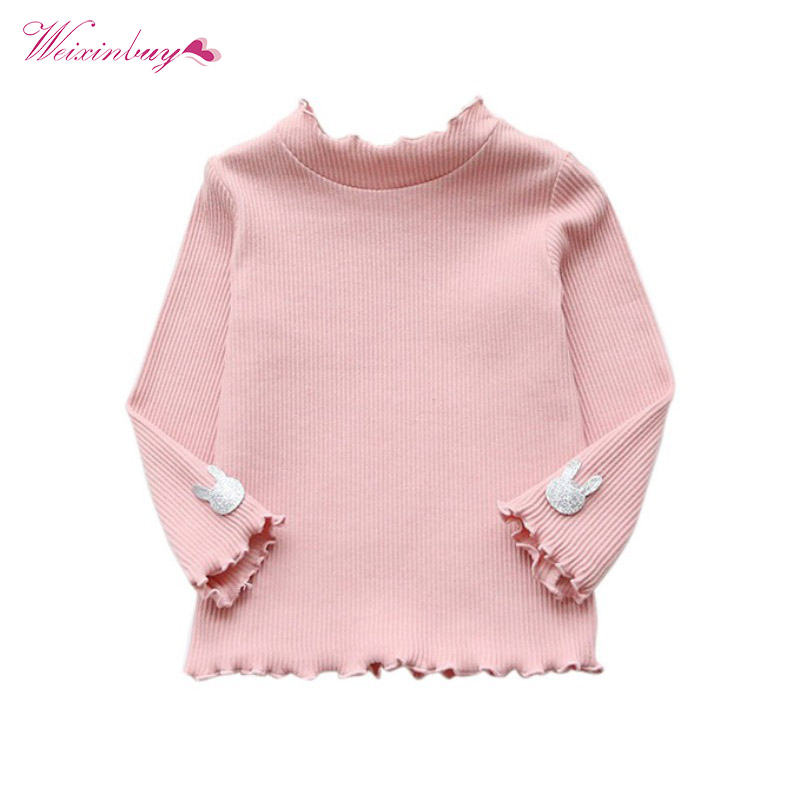 T-shirt Baby Girl Clothes Children design Soft Cotton T shirts Long sleeve T shirt for girls Tops stand collar color block and stripe splicing design long sleeve t shirt for men