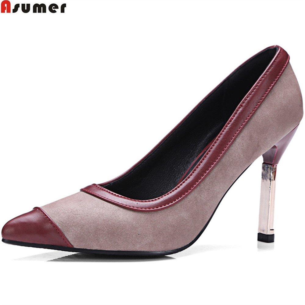 Asumer black wine red fashion spring autumn new women pumps shallow elegant prom shoes thin heel super high heels shoes big size 2016 spring and summer free shipping red new fashion design shoes african women print rt 3