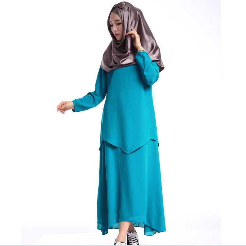 fadb270f43e5b 2019 المسلمات اللباس وهمية قطعتين الكبار الأزياء العباءة الجلابيب والعباءات  مسلم الإناث طويلة الأكمام اللباس العربي w703