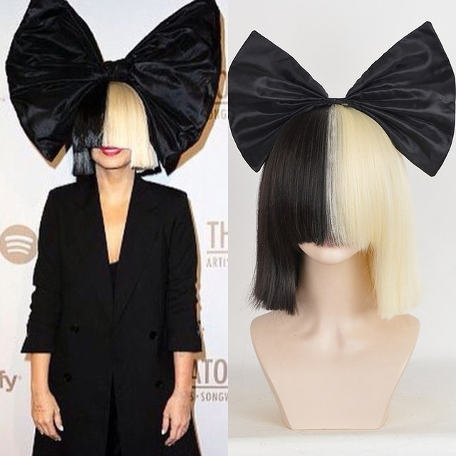 Halloween Black Bow Sia Wig Short Straight Half Black Half Blonde Neat Bangs Synthetic Wigs Fashion Short Wigs For Hair Women