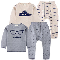 2018 High Quality Children Pajamas Set Baby Boys Thermal Underwear Kids Fashion Beard Glasses Design Tee