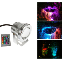 AUCD Mini 10W 12V Underwater Red Green Blue RGB LED Lights IR Remote 1000LM Waterproof IP68 Fountain Pool Lamp Lighting LED-WL