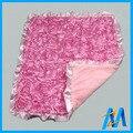 Baby Soft Blankets 100% Polyester Cheap Baby Blanket 3D Satin Flower Baby Christening Blanket Plush Baby Rosette Minky Blanket