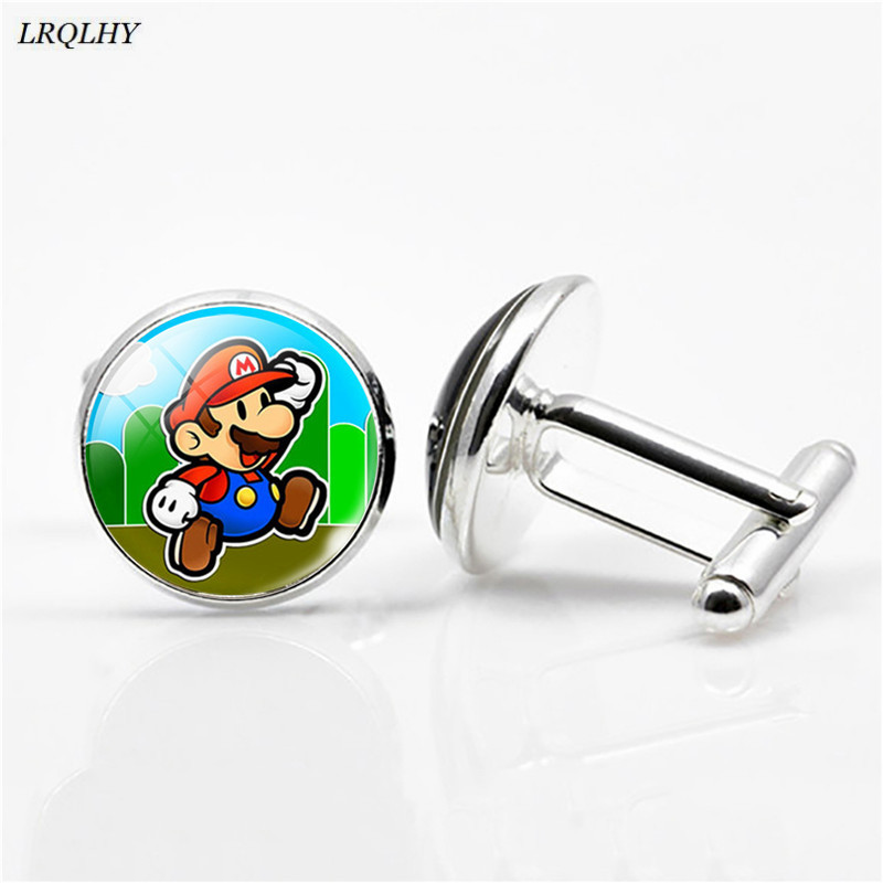 Fashion Super Mario Cufflinks Mario Bros Pattern Time Gem Glass Cufflinks Game Related Jewelry Cute Gifts For Children Wholesale