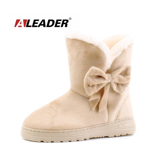 0ecdc90e167 ALEADER Moda Para Mujer Botas de Invierno de Gamuza de Cuero Zapatos de Las  Mujeres Botas