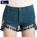 Women's summer original national wind shorts embroidered cotton and linen shorts 2017 casual Tassel fashion embroidery shorts