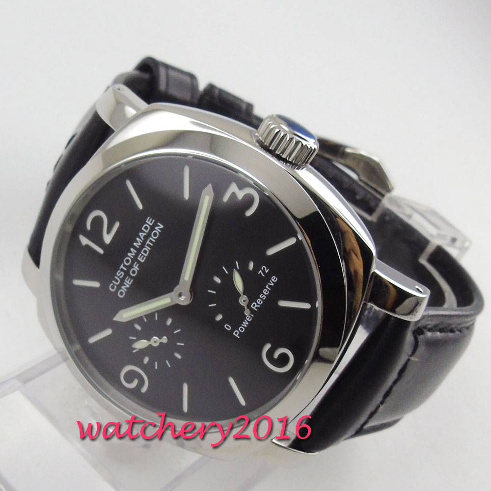 2019 New Arrive 44mm PARNIS Black Dial Power Receive Top Brand Luxury Stainless steel Case Automatic