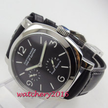 2019 New Arrive 44mm PARNIS Black Dial Power reserve Top Brand Luxury Stainless steel Case Automatic Movement men's Wristwatch все цены