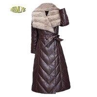 Зимний пуховик большой размер высокое качество Для женщин кожа и замша куртка 2018 новая мода сплошной цвет Для женщин кожаная куртка LH02