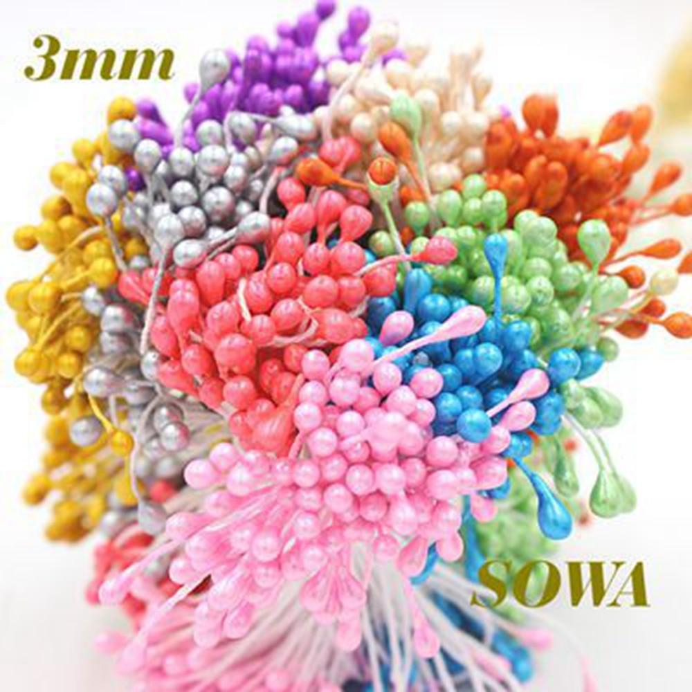 Free Shipping Artical Flower 850pcs/Lot 1/3/5mm Multicolor Double Heads Flower Pistil St ...