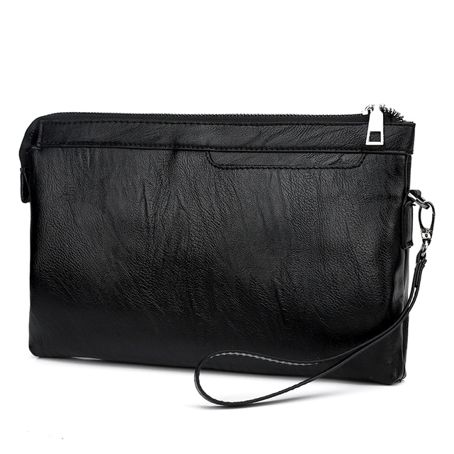 27d2af621fbe 2018 Women Long Clutches Wallets and Purse Leather Purse Men Bag Zipper  Black Large Capacity Handbag for Ipad Two Sizes