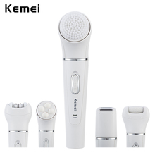 5 in 1 Kemei Rechargeable Face Brush Electric Cleanser Epilator Facial Cleansing Device Women Lady Shaver Massager