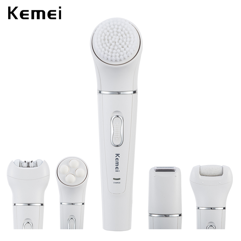 5 in 1 kemei rechargeable face brush electric cleanser epilator facial cleansing device women electric lady shaver massager-in Powered Facial Cleansing Devices from Home Appliances