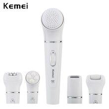 5 w 1 Kemei akumulatorowa szczotka do twarzy elektryczny depilator do mycia twarzy urządzenie oczyszczające kobiety Lady Shaver Massager