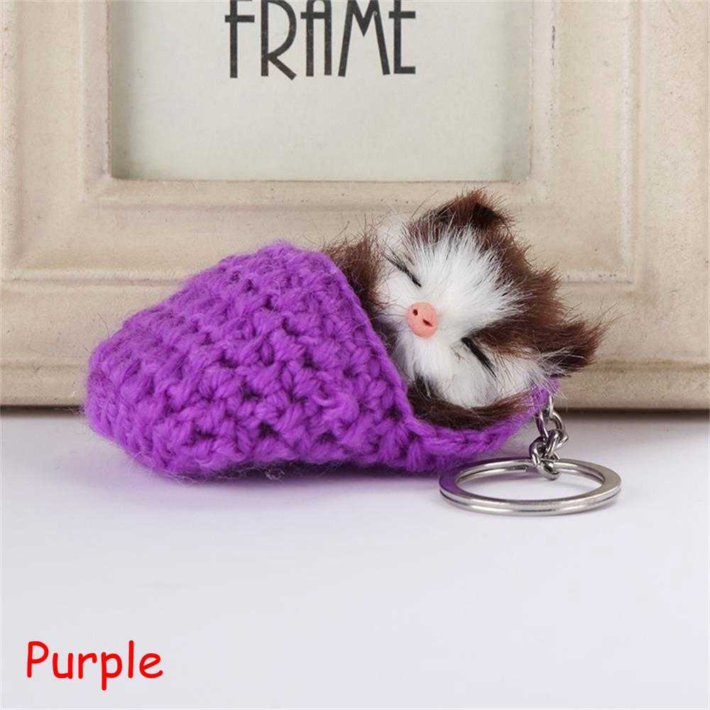85abe98325 ... 1PC Xmas Gift Cute Sleeping Cat Pompom Fluffy Handmade Keychain Woven  Shoes Faux Rabbit Fur Car ...