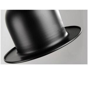 Image 3 - Retro Pendant Lamp Jazz Top Hat Aluminum Pendant Lamp 110v 220v E27 Outside Black Inside Golden Bar Counter Bedroom Cafe Lamp