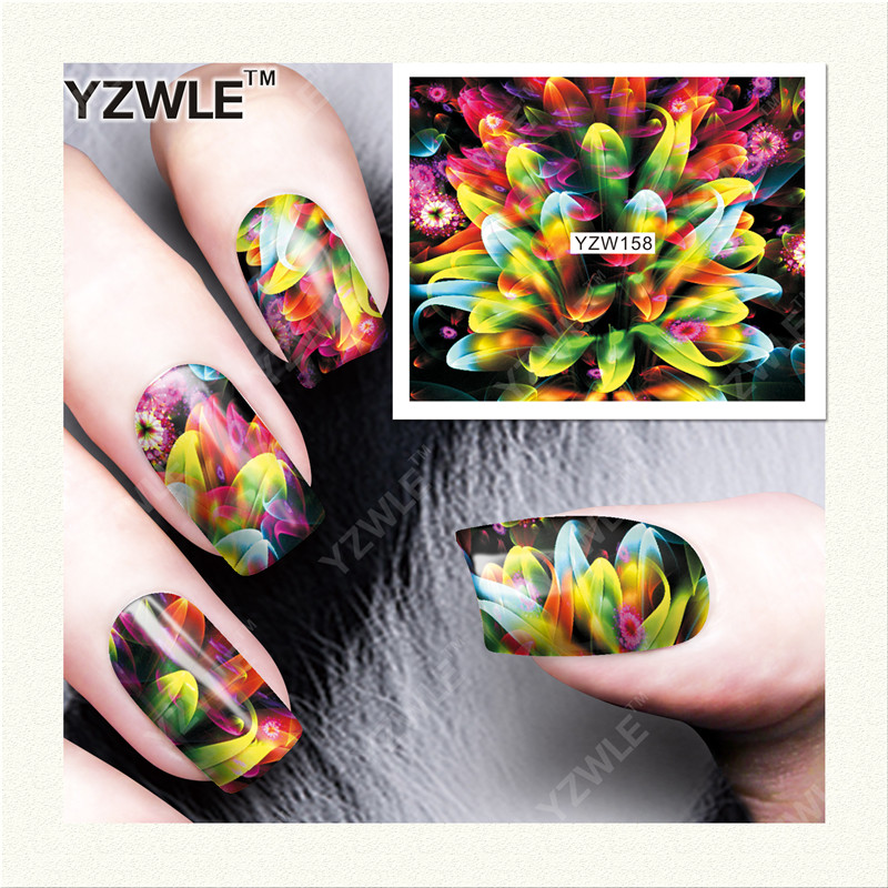YWK  1 Sheet DIY Designer Water Transfer Nails Art Sticker / Nail Water Decals / Nail Stickers Accessories (YZW-158) 1pcs water nail art transfer nail sticker water decals beauty flowers nail design manicure stickers for nails decorations tools