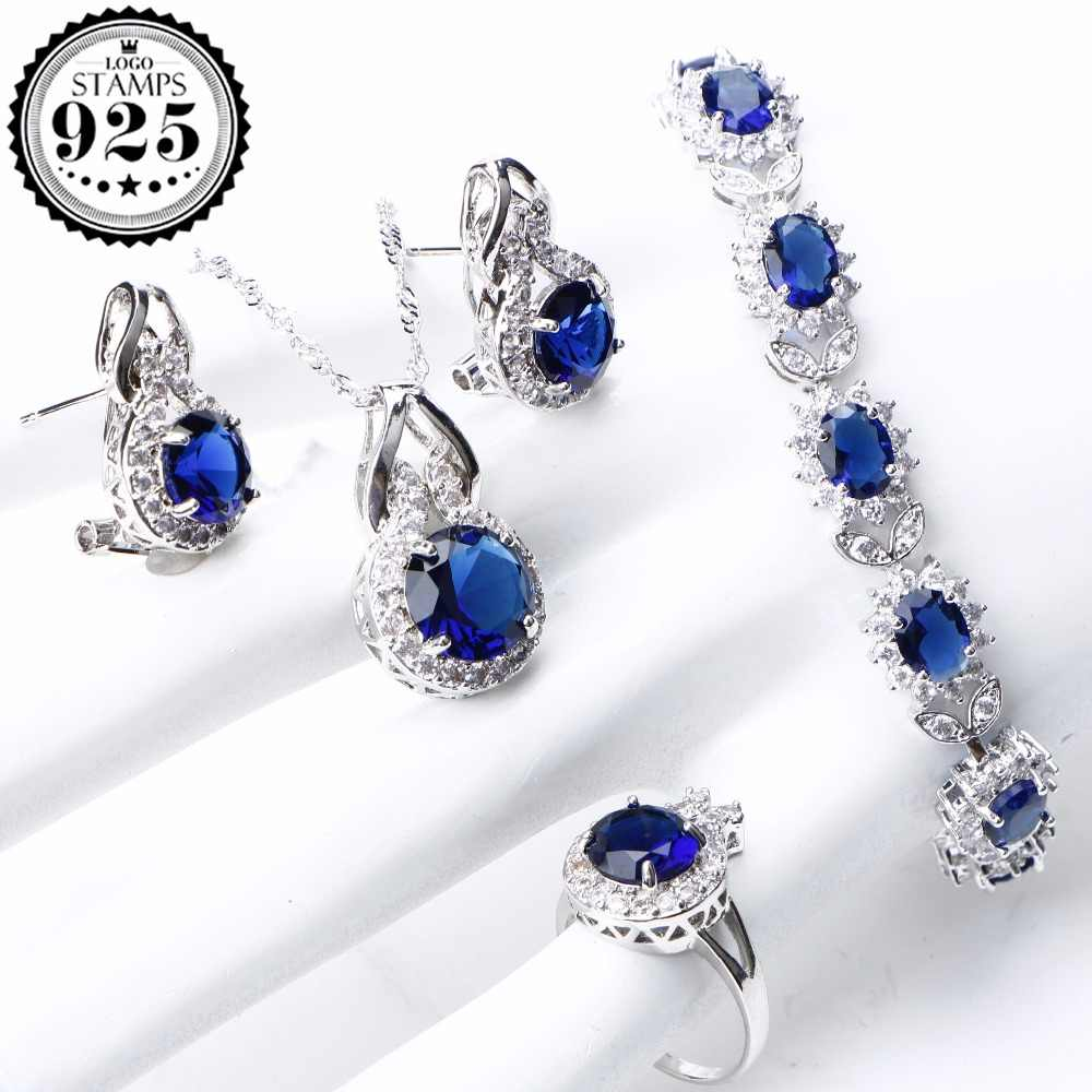 Bridal Jewelry Set For Women 925 Sterling Silver Jewelry Wedding Bracelet Earrings Ring Blue CZ Stones Necklace Set Gifts Box