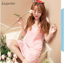 Girl girl Xia Chunmian nightdress Loose  home dress, lovely princess cartoon student dress Laipelar