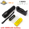 X800 G700 4000 lumen flashlight Cree XM-L2 U3 T6 LED Tactical Flashlight torch with 1 x rechargeable 26650 battery + 1 x charger