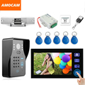 "7"" Wireless Video Doorbell Intercom Door Phone with Electronic Strike Lock password/ID Card /Wireless Remote/ Exit Unlock"