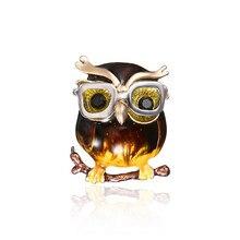 Moda lindo broche de pájaro Animal Ropa Accesorios gafas forma Vintage pines broche de regalo de la joyería de la boda