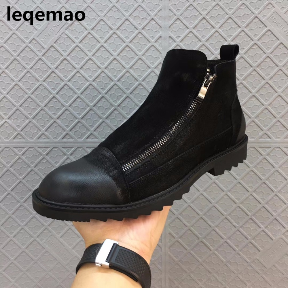 Hot Sale Winter Warm Fur Inside Men Boots Comfortable Zipper Designer Man Casual Shoes Genuine Leather Boots Leqemao brand Shoes hot sale new arrival winter warm fur inside men casual shoes oxford genuine leather lace up high style youth ankle man shoes