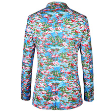 Casual men suit jacket blazer 2017 New brand blazer Flamingo pattern printing design blazers flowers Mens Plus Size Jacket