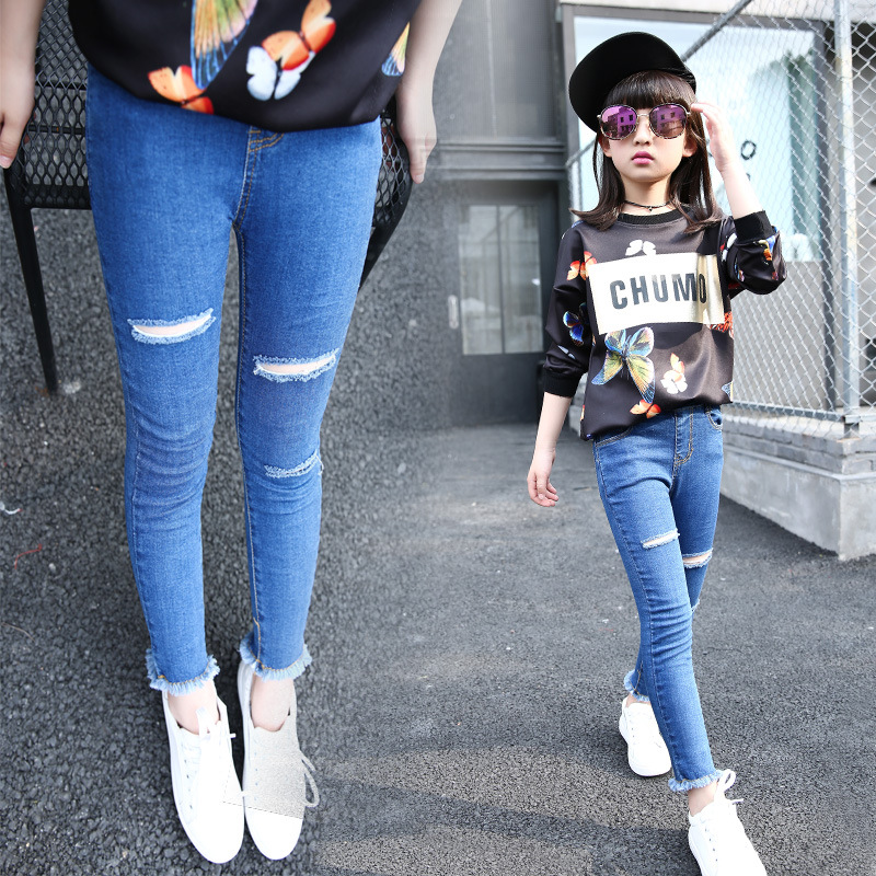 2016 High Quality Baby Girl Jeans Solid Color Kids Skinny Ripped ...