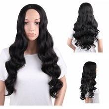 Pabrik Harga 1 PC Wanita Fashion Wanita Panjang Hitam Bagian Tengah Besar  Gelombang Rambut Keriting 70 Cm Cosplay Wig Berdiri pe. 46063e3d3a