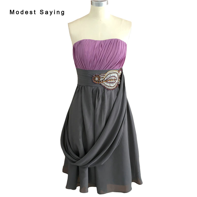 Real Sexy Lilac A Line Strapless Ruffles Beaded Chiffon Cocktail Dresses 2017 Formal Knee Length Prom Gown Robe De Cocktail BE41