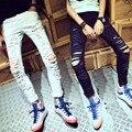 Новый Известный Бренд Белый Черный Мужчин дизайнер Случайные Отверстия Разорвал печать Джинсы Мужская Мода Тощий Джинсовые Штаны Slim Fit Мужской MB375