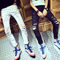 New Famous Brand White Black Men designer Casual Hole Ripped Print Jeans Mens Fashion Skinny Denim Pants Slim Fit Male MB375