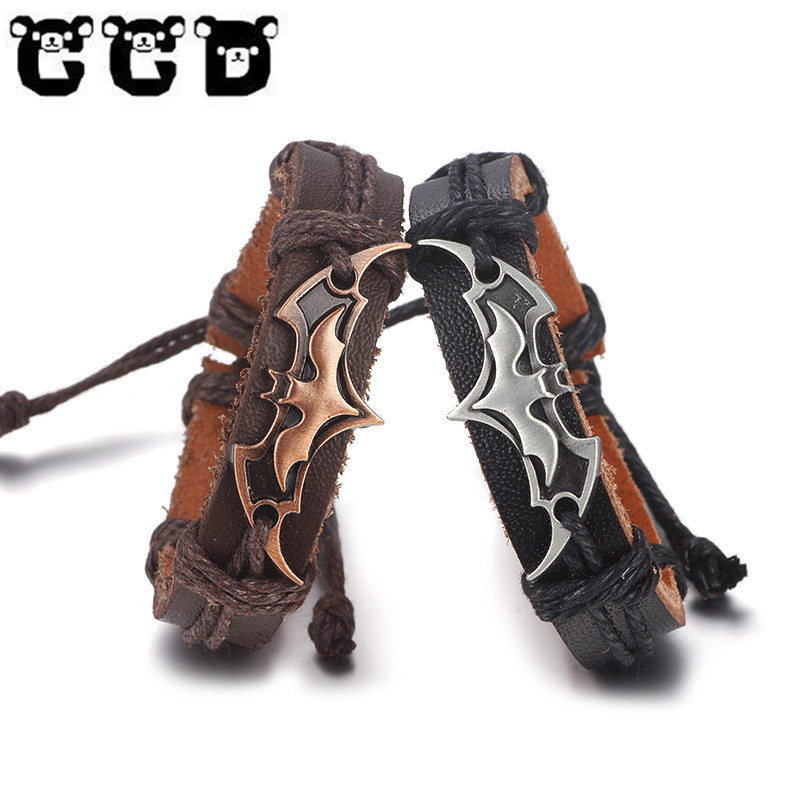 New Fashion Black Punk Bracelets Men Charm Bracelet Chain Bracelets & Bangles Male Wrap Metal Sport Hook charact Gift pulseira