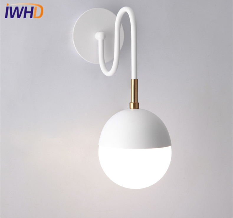 IWHD White Modern LED Wall Lights Iron Creative Glass Wall Lamp Loft Bedside Sconces Fixtures Home Lighting Arandela Luminaire 2 lights modern creative metal wall light simple glass shade wall sconces fixtures lighting for hallway bedroom bedside wl282 2