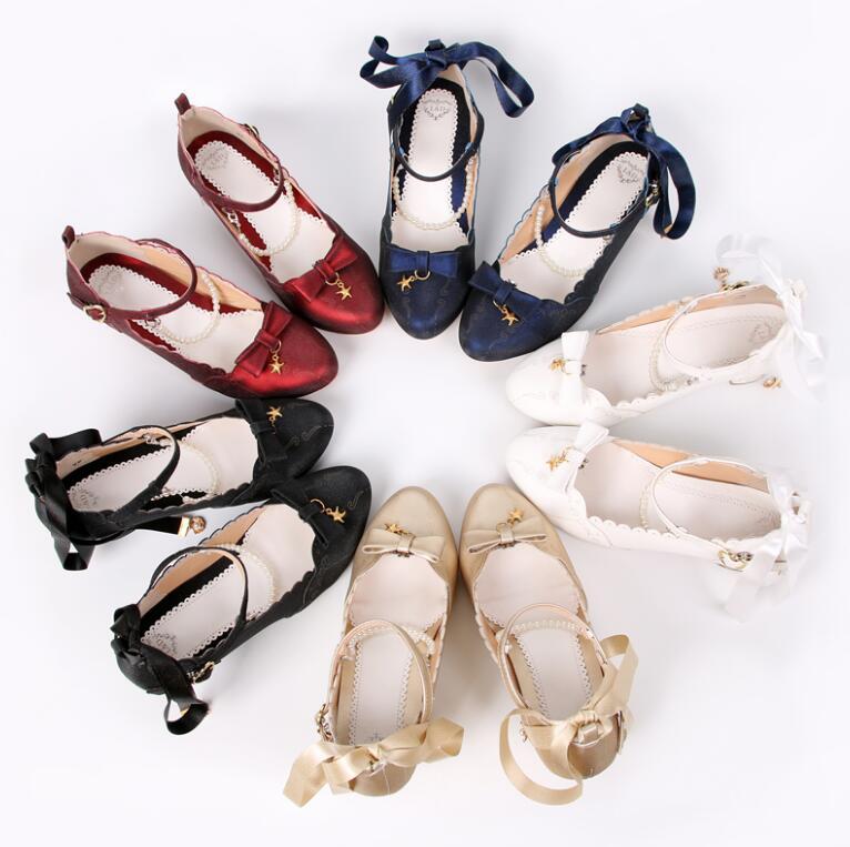 Girl Lolita Pearl Chain Butterfly Knot Starfish Shell Princess Girl Single lolita women Shoes tbx118