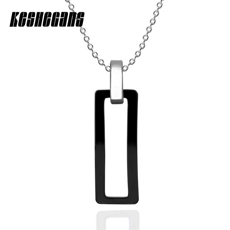 New Fashion Jewelry Simple Ceramic Rectangle Pendant Necklace Black White Charm Pendant Necklaces Gift For Women Girl 40cm Chain