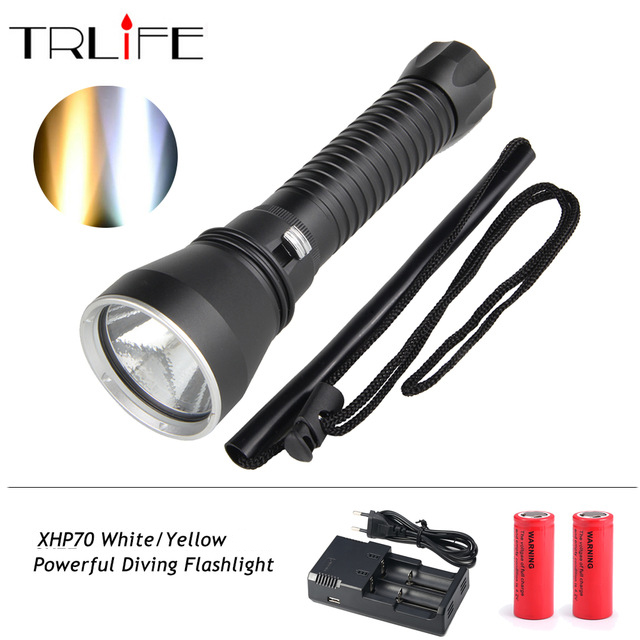 XHP70 Diving Flashlight White/ Yellow Waterproof Powerful LED Torch 3000K 6000K Use 26650 Battery xhp70 diving flashlight white yellow waterproof powerful led torch 3000k 6000k use 26650 battery