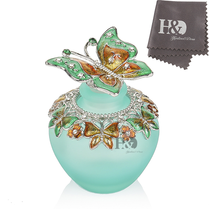 H&D 40ml Vintage Glass Perfume Bottle Metal Crystal Butterfly Shape Refillable Empty Cosmetic Oil Container Wedding Gift Decor