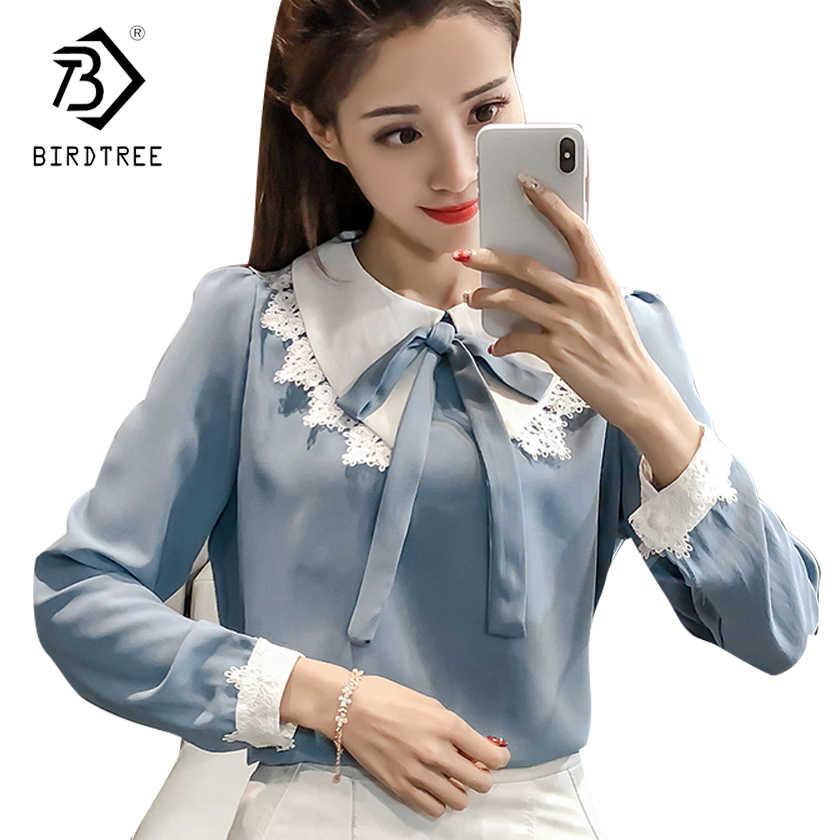 5ec690d6fc0 Для женщин рубашки 2018 Мода отложной воротник Для женщин тонкий с бантом и  длинными рукавами Однотонная