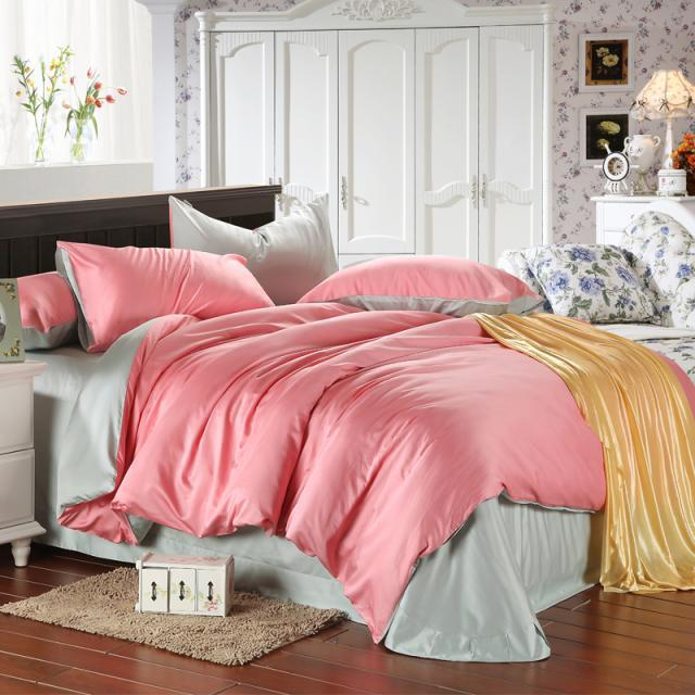 luxury pink bedding set light green bedspread queen duvet cover king size sheets double bed in a. Black Bedroom Furniture Sets. Home Design Ideas