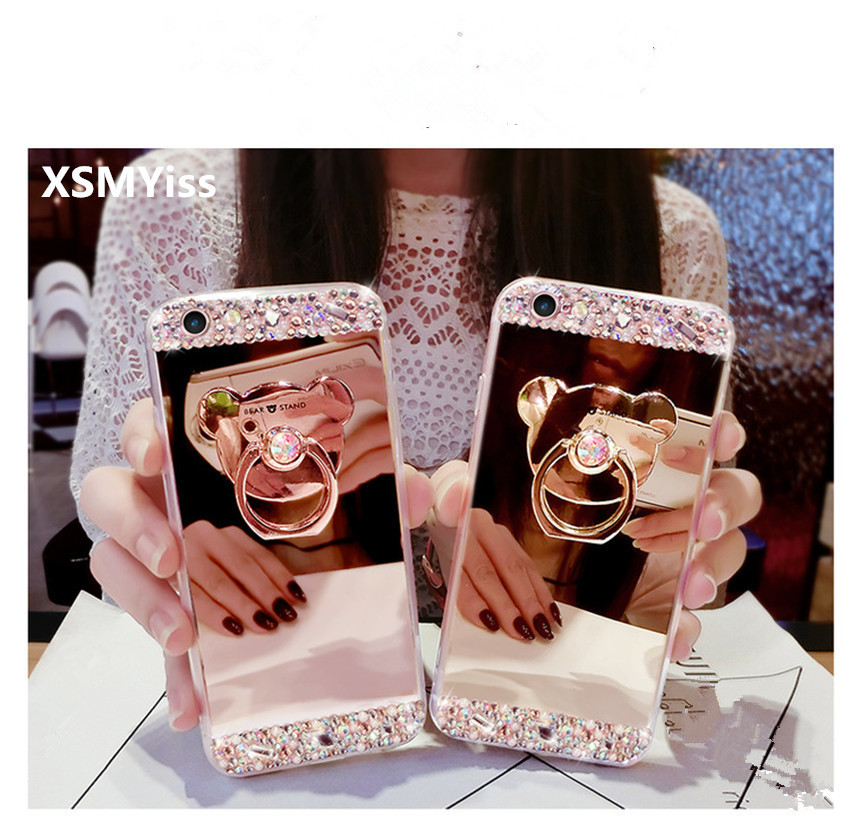 XSMYiss Luxury Diamond Soft Mirror With 360 Ring Holder Case For Huawei P8 P9 P10 P20 Lite Plus Mate 7 8 9 10