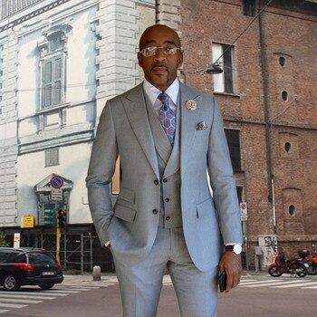Custom Made Grey Prom Men Suit Set (Jacket+Pants+Vest) Groomsmen Tuxedos Groom Wedding Suit Men Suits Regular Fit Costume Homme