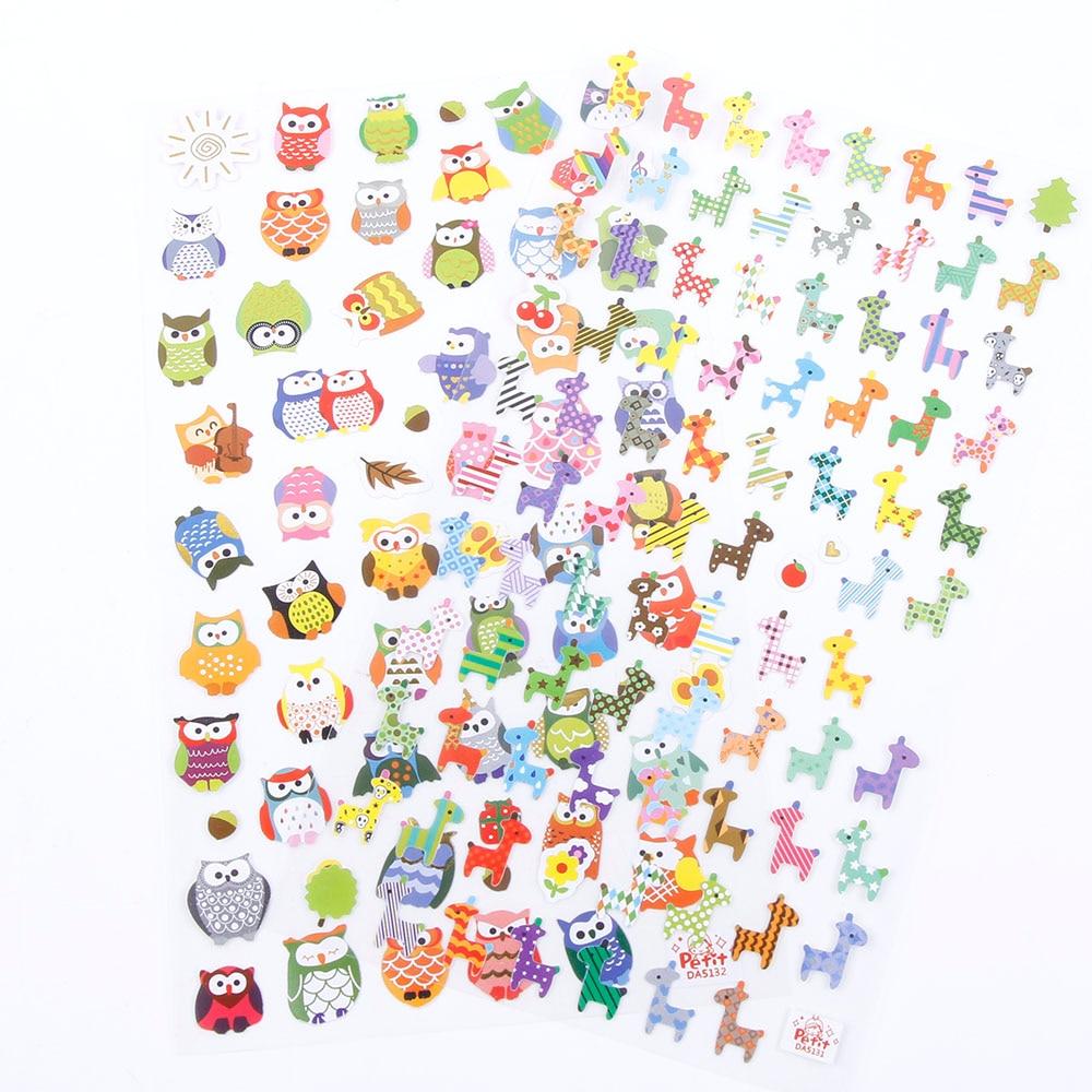 1 sheet Children Cute Owl Giraffe Reward Stickers School Teacher Merit Praise Sticky Class Paper Lable Kids newest 6pcs set 6 colors 6 styles cute teachers stampers inking praise reward stamps motivation sticker school dig6429