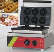 110v 220v Electric Commercial Non-stick 6pcs Doughnut Donut Maker Iron Baker Machine